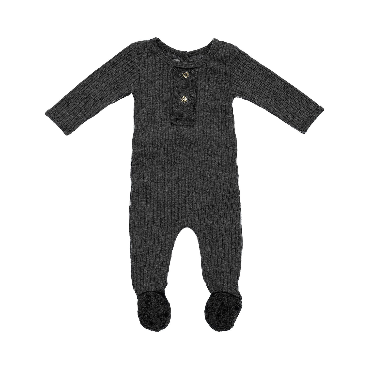 Velour Ribbed Footie Maniere Accessories Black 3 Month