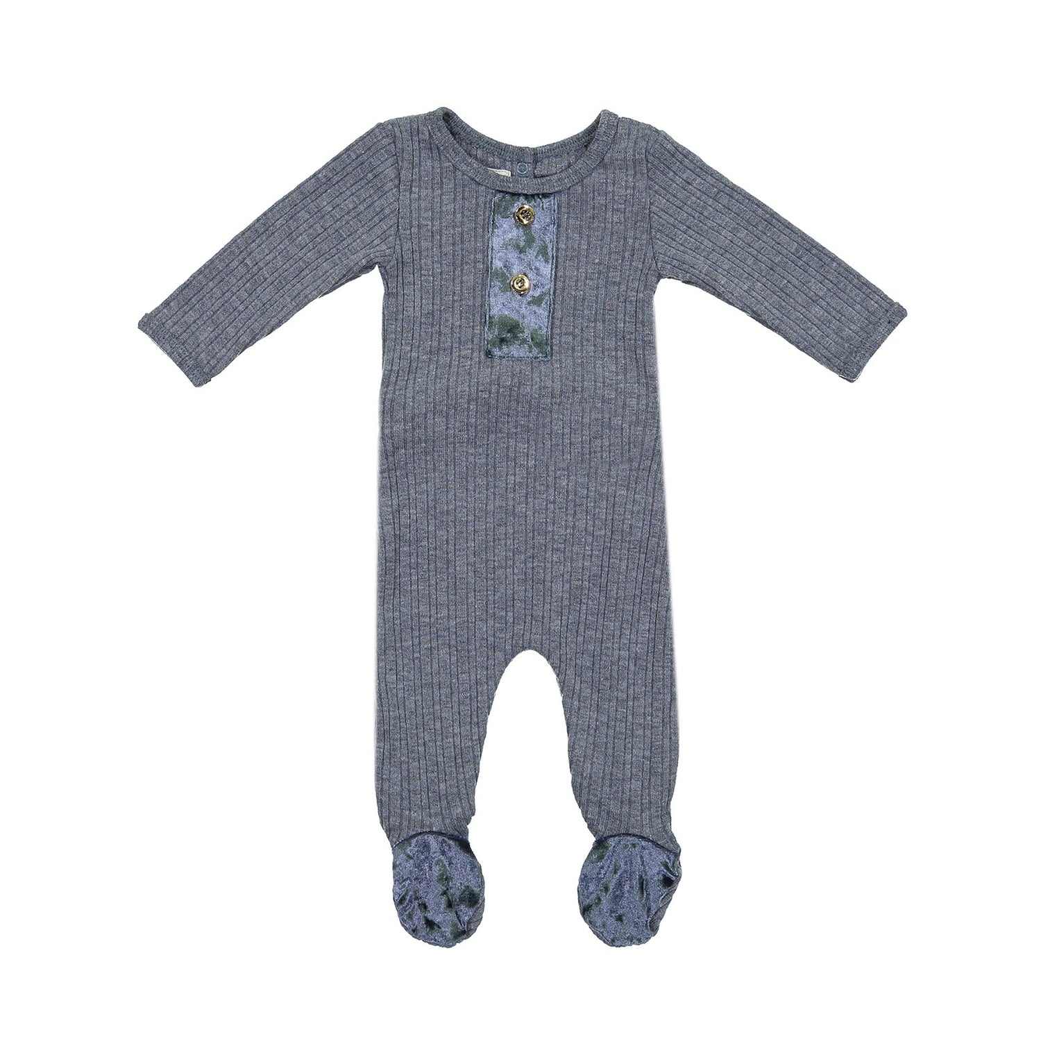 Velour Ribbed Footie Maniere Accessories Denim 3 Month