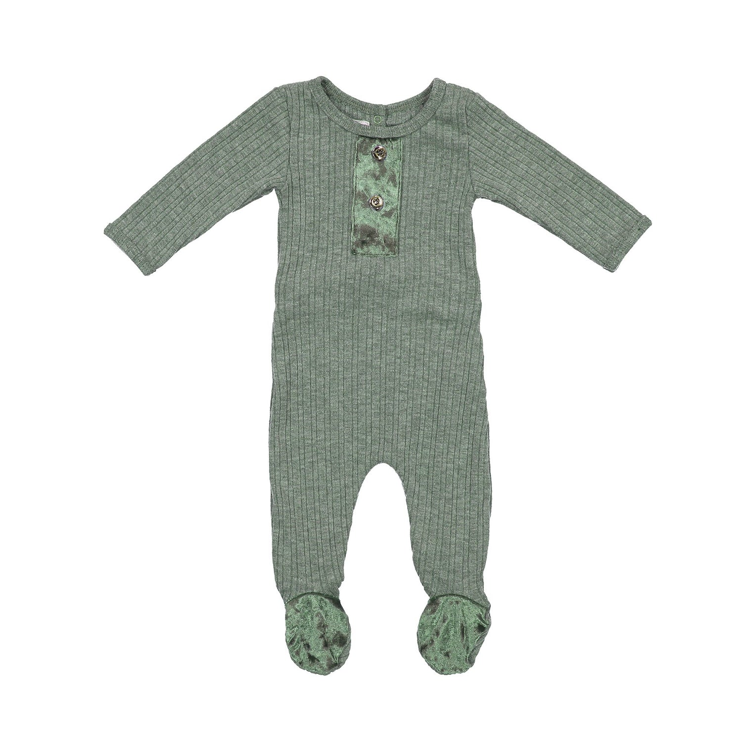 Velour Ribbed Footie Maniere Accessories Olive 3 Month