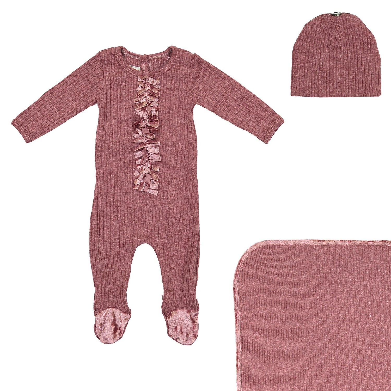 Velour Ribbed Footie Sets Maniere Accessories Berry 3 Month