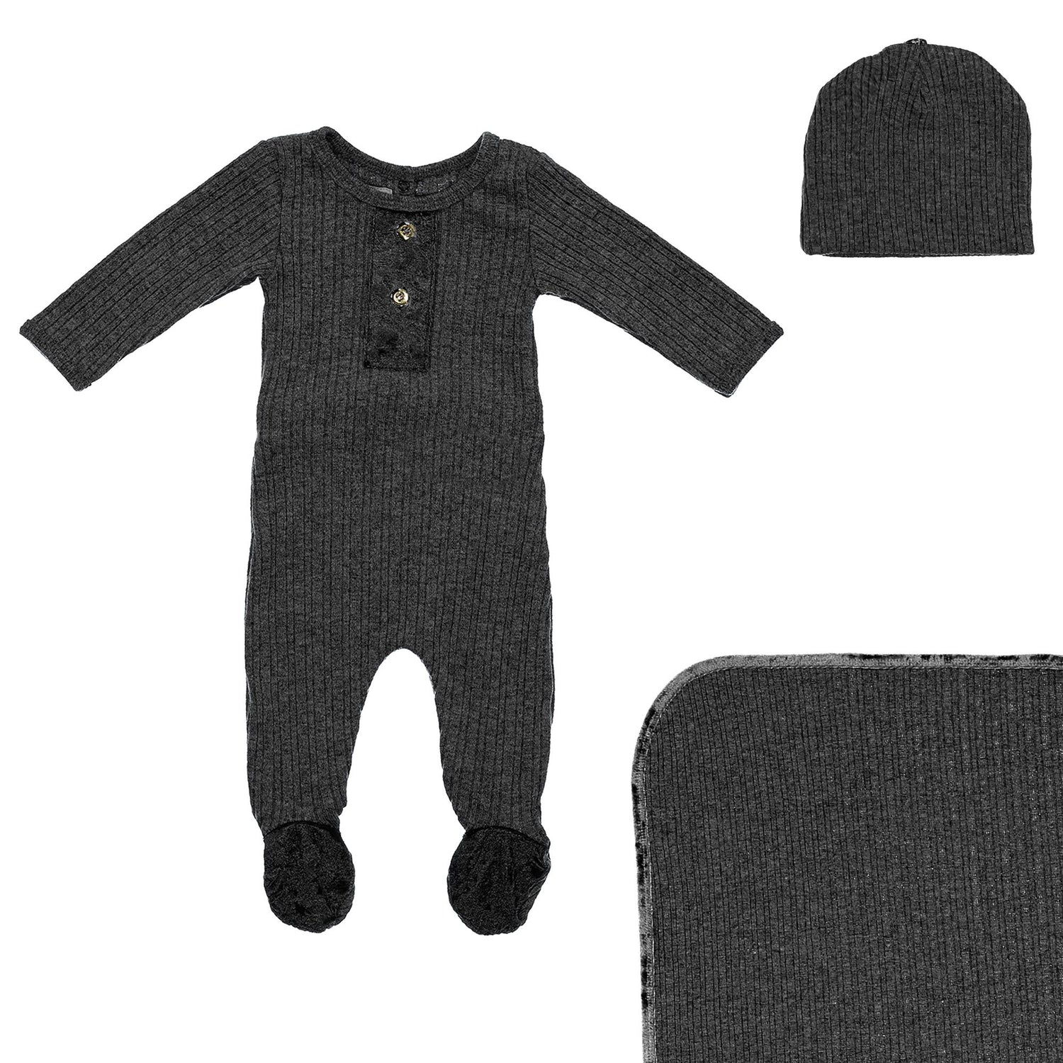 Velour Ribbed Footie Sets Maniere Accessories Black 3 Month