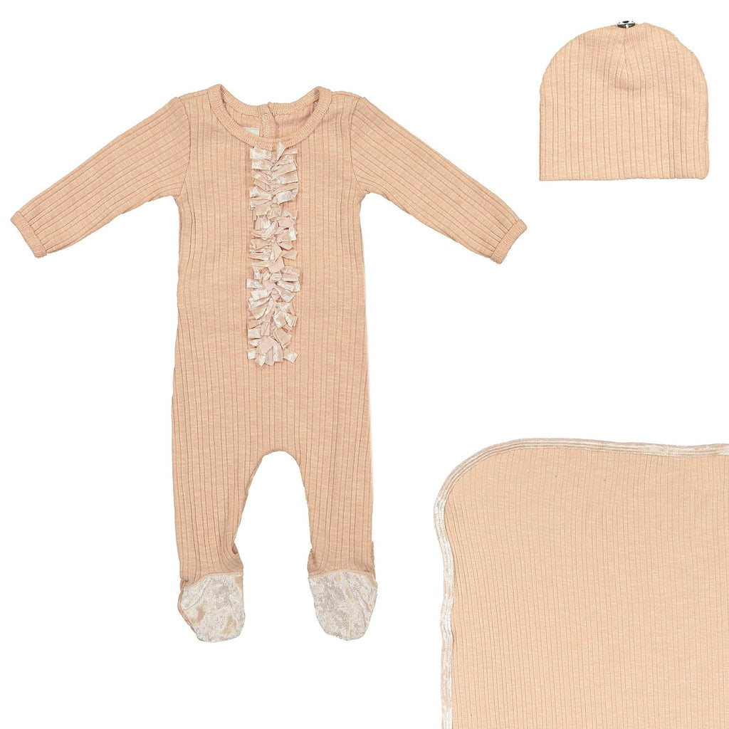 Velour Ribbed Footie Sets Maniere Accessories Mauve 3 Month