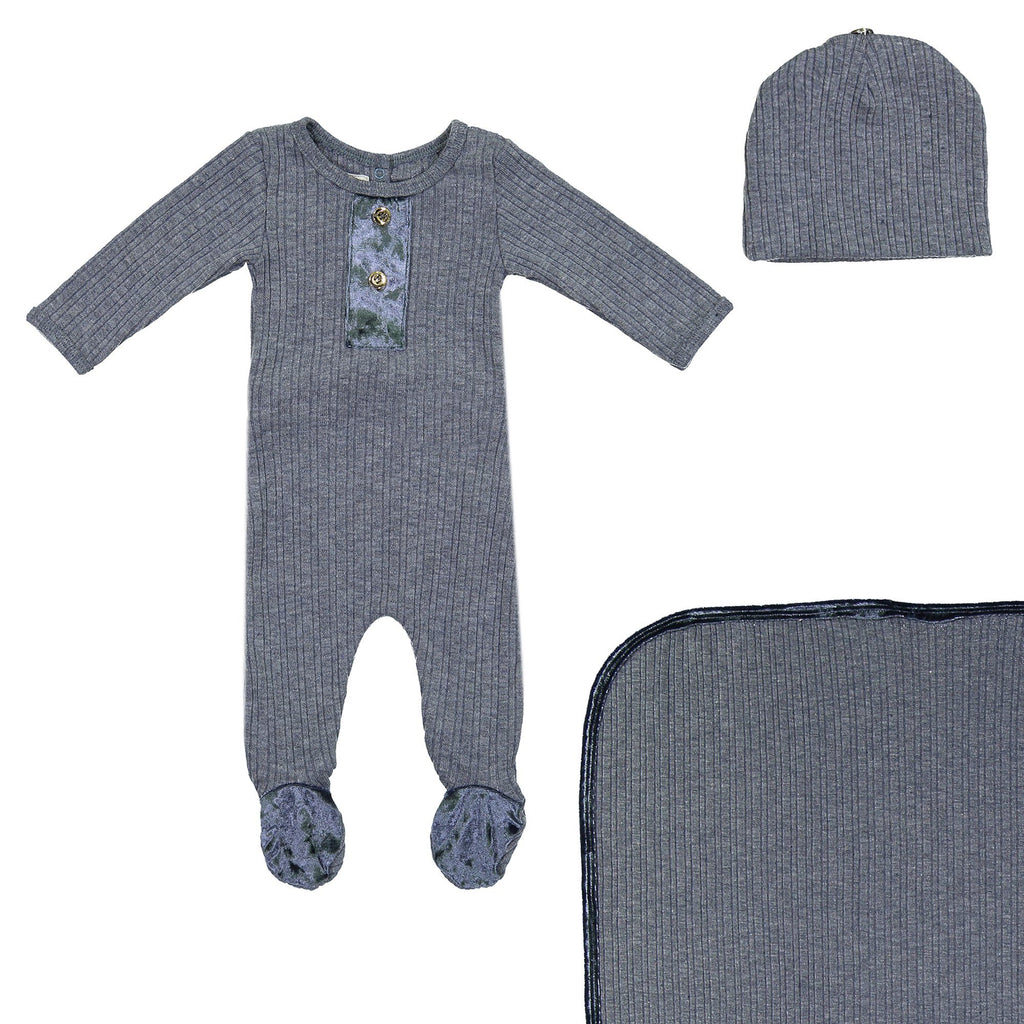 Velour Ribbed Footie Sets Maniere Accessories Denim 3 Month