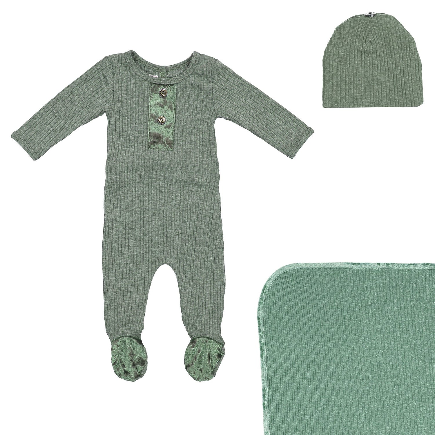 Velour Ribbed Footie Sets Maniere Accessories Olive 3 Month