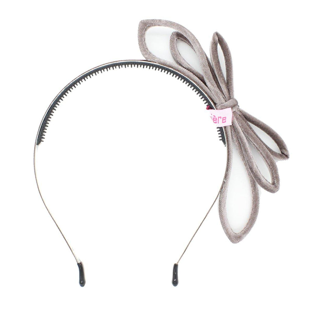 Velvet Double Bow Headband Headband Manière Dusty Grey