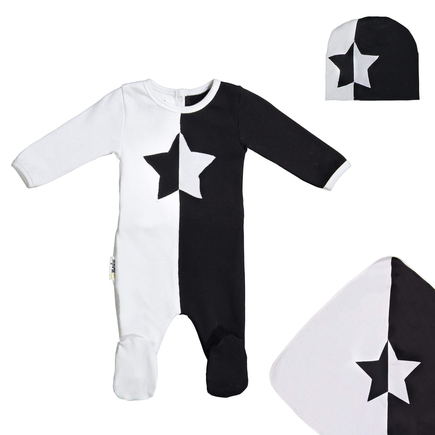 Whimsical Shape Footie Set Maniere Accessories Black 3 Month