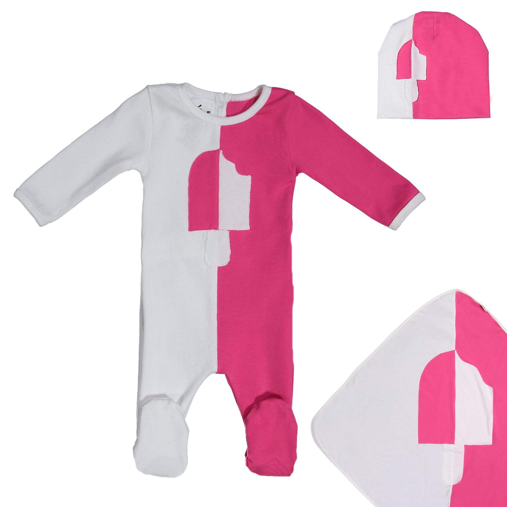 Whimsical Shape Footie Set Maniere Accessories Hot Pink 3 Month