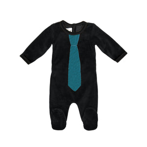 Whimiscal Velour Footie Maniere Accessories Black 3 Months
