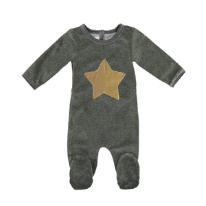 Whimiscal Velour Footie Maniere Accessories Grey 3 Months