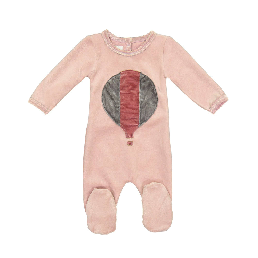 Whimiscal Velour Footie Maniere Accessories Mauve 3 Months