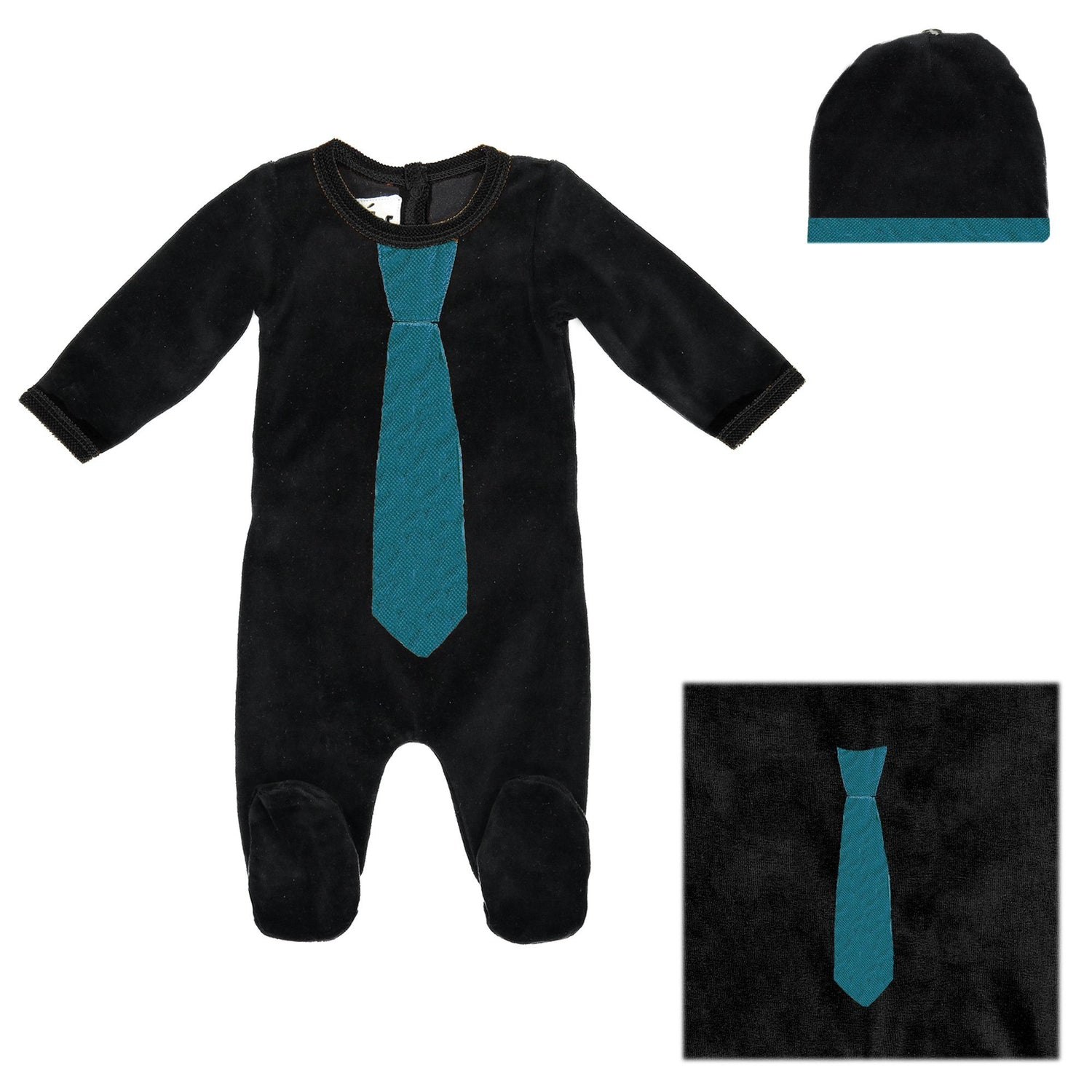 Whimiscal Velour Set Baby Sets Maniere Accessories Black 3 Months