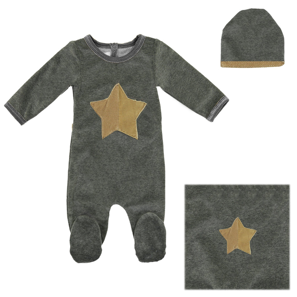 Whimiscal Velour Set Baby Sets Maniere Accessories Grey 3 Months