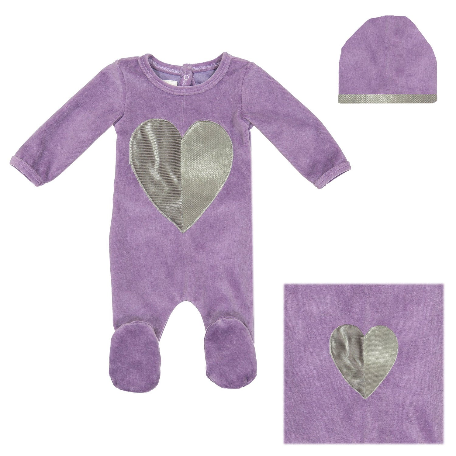 Whimiscal Velour Set Baby Sets Maniere Accessories Purple 3 Months