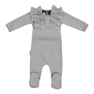 Load image into Gallery viewer, Herringbone Ruffle Footie Baby Footies Maniere Accessories Black 3 Months