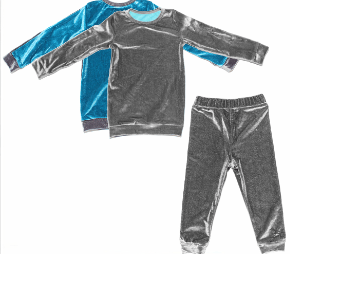 Velour Color Block Set Maniere Accessories Teal/Grey 2T