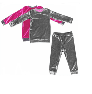 Load image into Gallery viewer, Velour Color Block Set Maniere Accessories Pink/Grey 2T