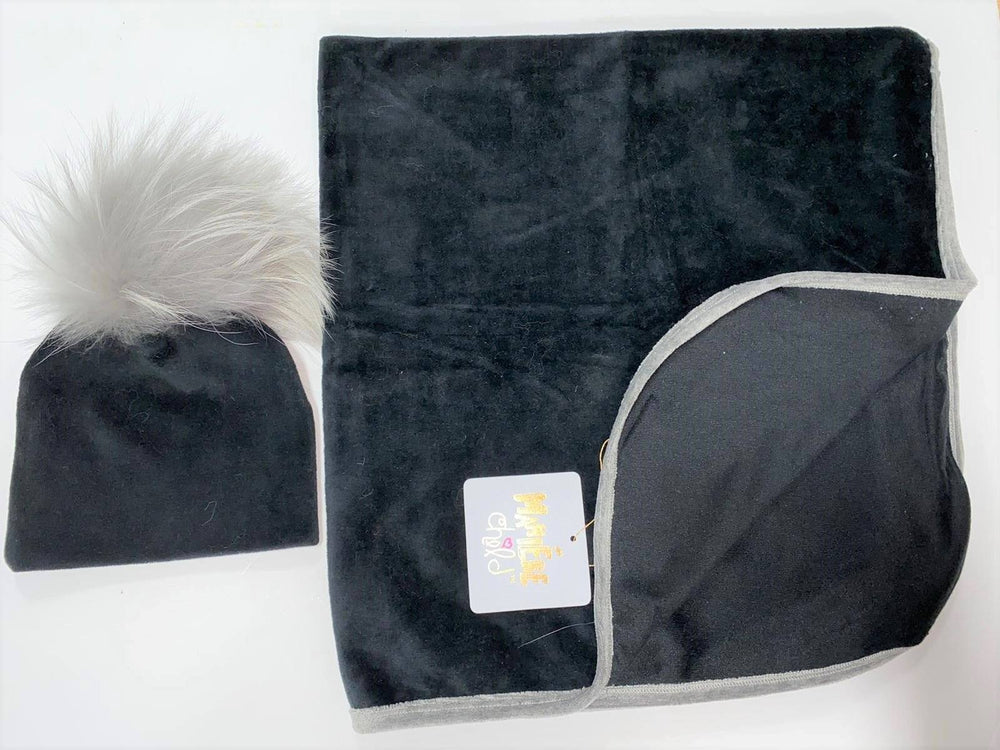Velour Swaddle Set Baby Blanket Maniere Accessories Black 3 Months