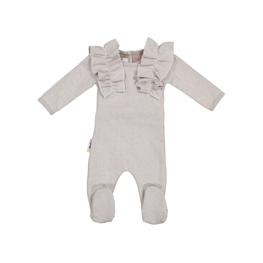 Load image into Gallery viewer, Herringbone Ruffle Footie Baby Footies Maniere Accessories Stone 3 Months
