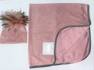 Velour Swaddle Set Baby Blanket Maniere Accessories Mauve 3 Months