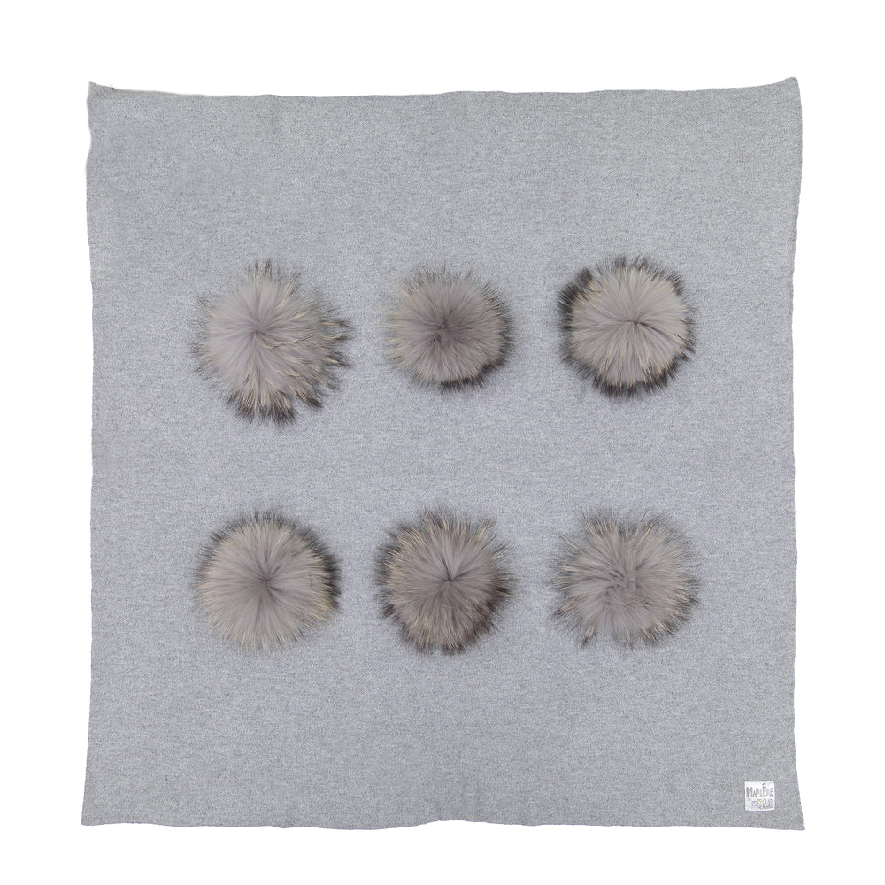 Load image into Gallery viewer, Wool Pom Knit Blanket