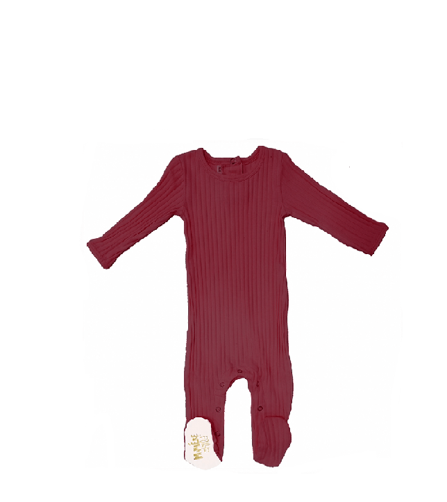 Ribbed Footie (winter colors) Baby Footies Maniere Accessories Maroon 3M