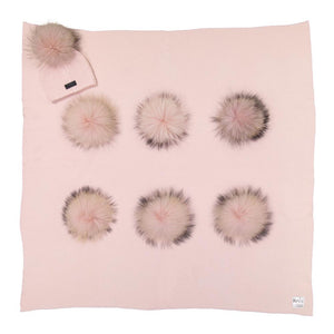 Wool Pom Knit Blanket With Matching Pom Knit Wool Hat Baby Blanket Maniere Accessories 0-12 Month Soft Pink