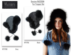 Raccoon Fur Trapper Hat Premium Fur Manière