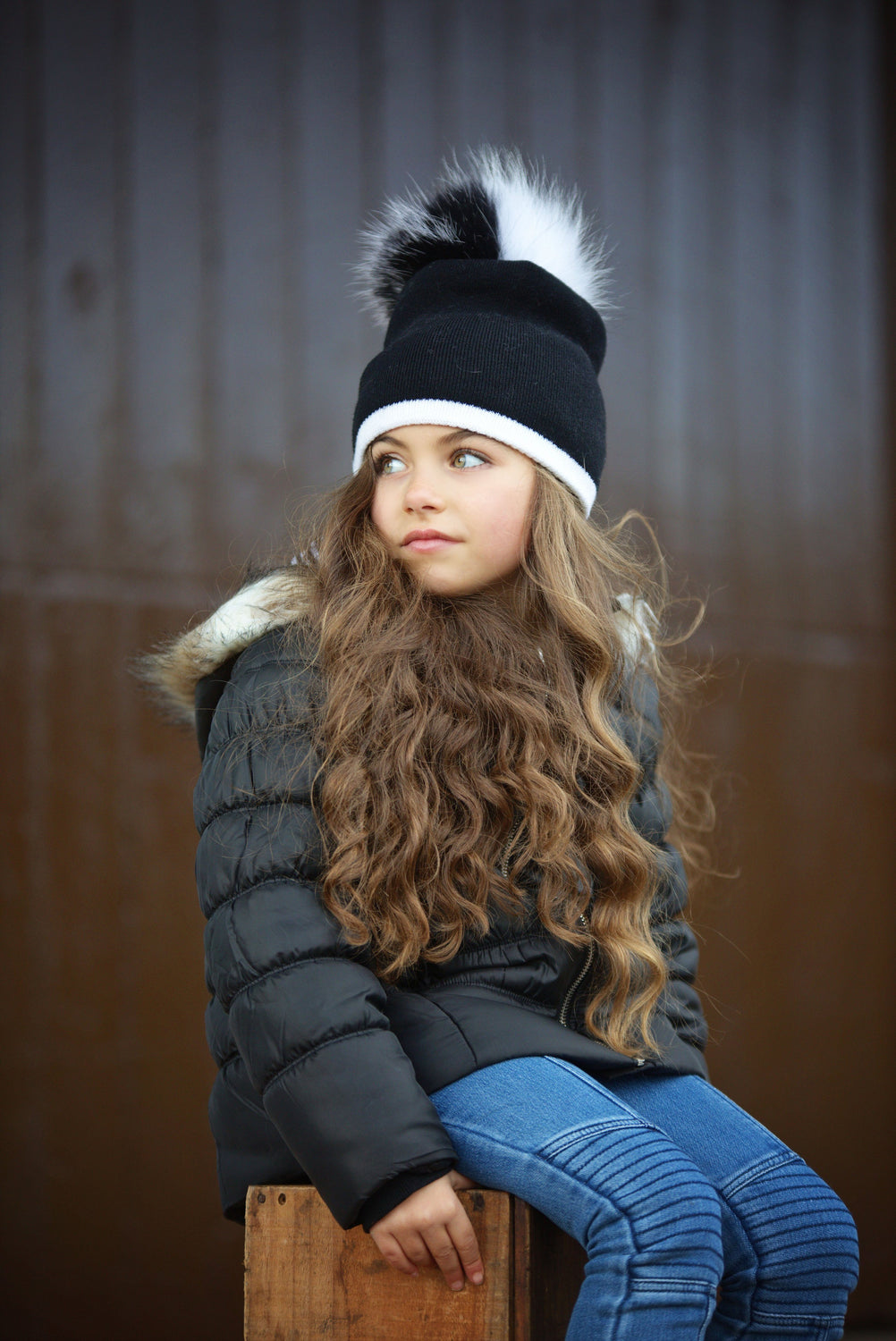 Two Tone Knit Hat With Choice of Pom