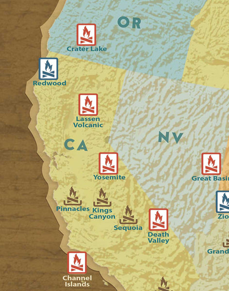 National Parks Travel Quest Map & Poster Bundle