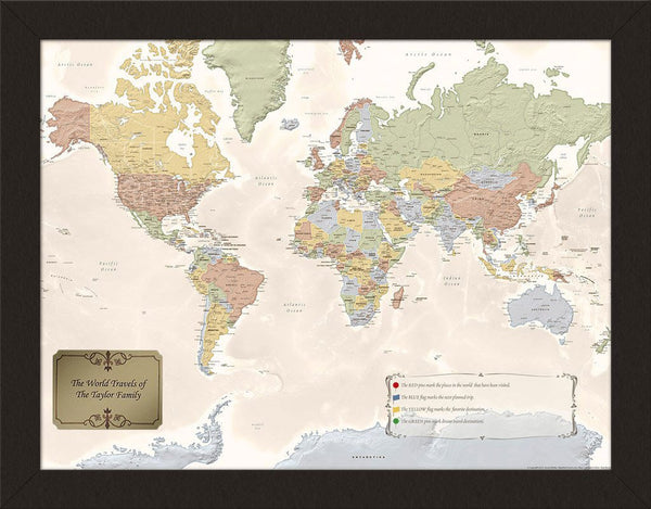 Choose Your Frame Personalized World Travel Map – Stone Arch Merchants