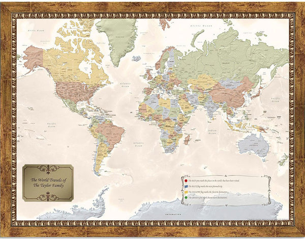 Choose Your Frame Personalized World Travel Map