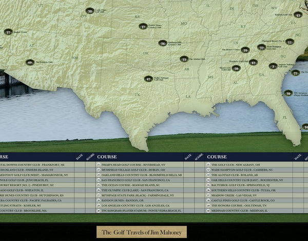 Premier Golf Courses of the United States Travel Quest Map