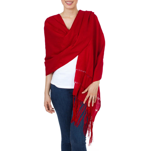 Handwoven Red Mexican Rebozo Shawl, 'Crimson Enchantment'