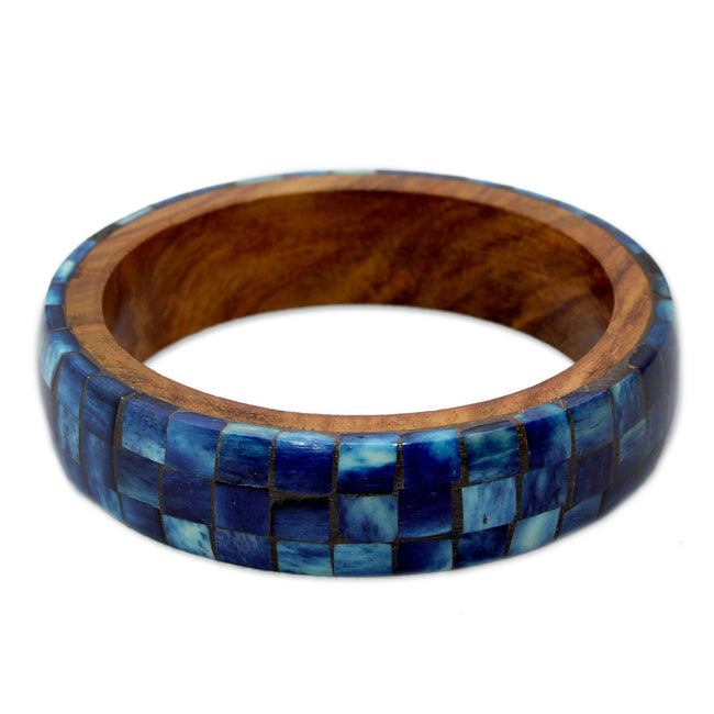 Wood Bangle Bracelet with Bone Inlay, 'Blue Symphony'