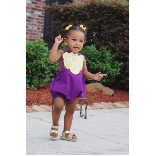 Purple and Gold Tiger Bubble Romper