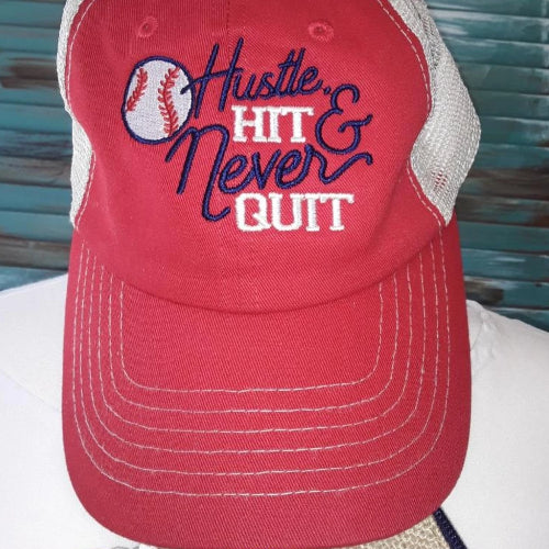hustle hit & never quit baseball hat