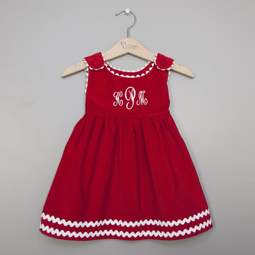 Monogrammed Red Corduroy Ric Rac Dress