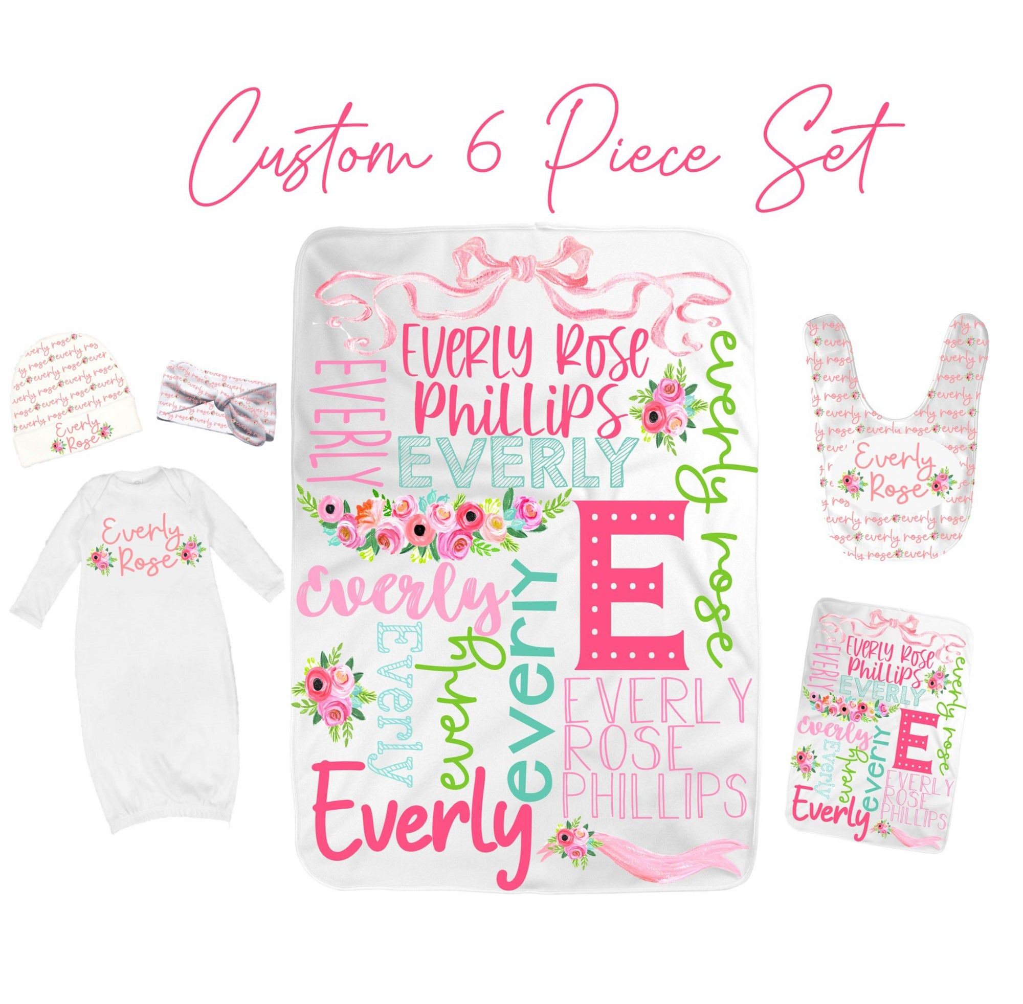 Personalized Floral Baby Girl Set-Custom Printed Baby Blanket, Baby Gown, Baby Bib, Burp Cloth and Baby Hat and Bow Head Wrap