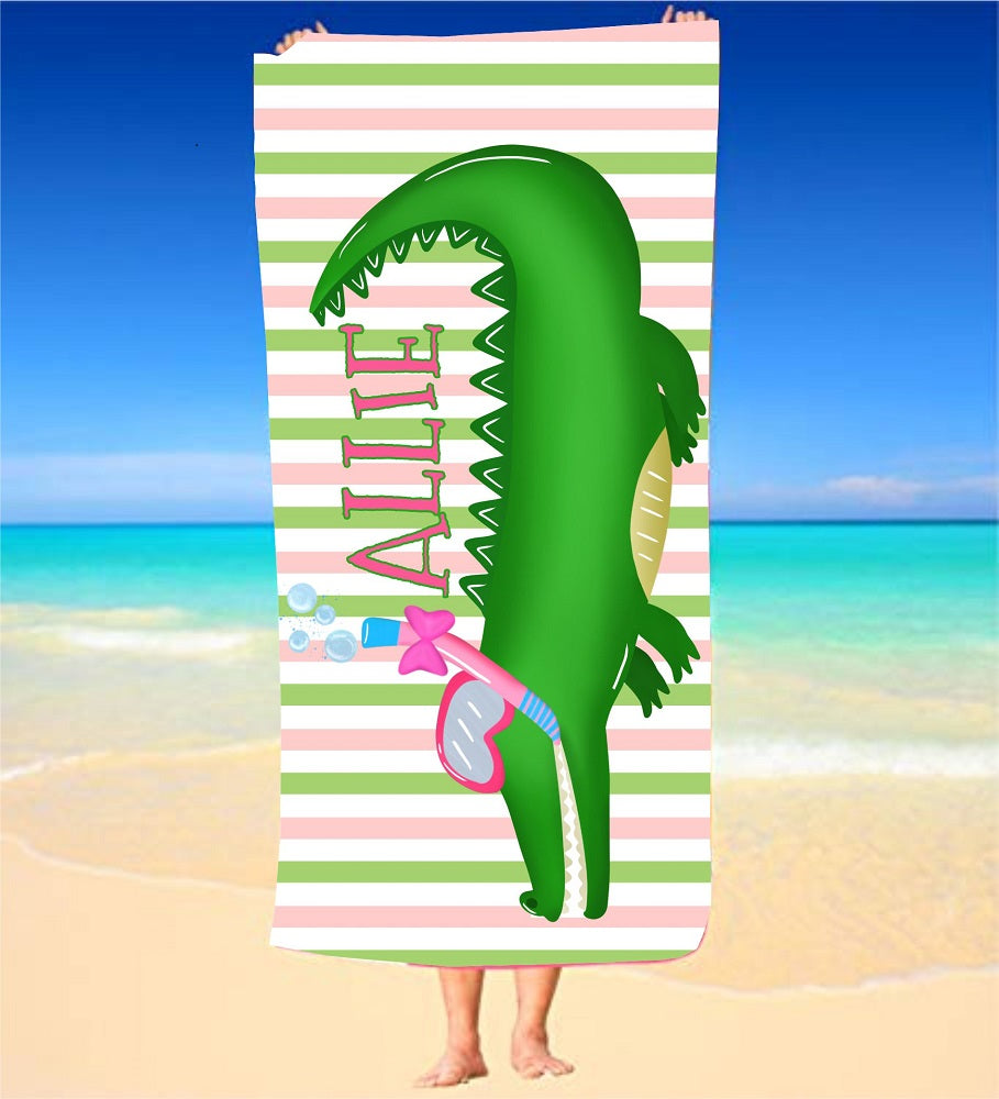 Personalized Alligator with Bow Beach Towel