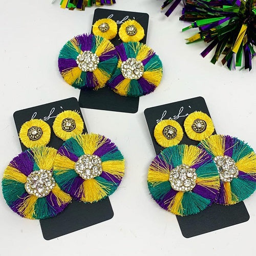Mardi Gras Round Earrings with Stone