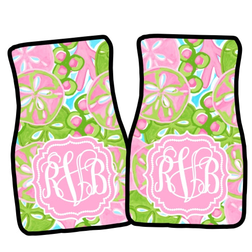 Monogrammed Car Mat Set- Sand Dollars