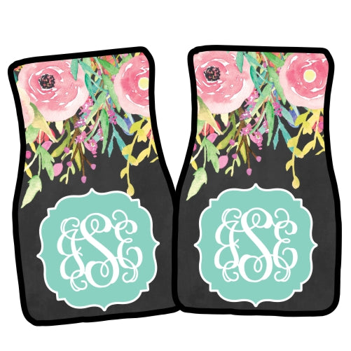 Monogrammed Car Mat Set- Floral