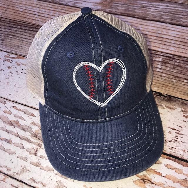 Baseball Heart Hat