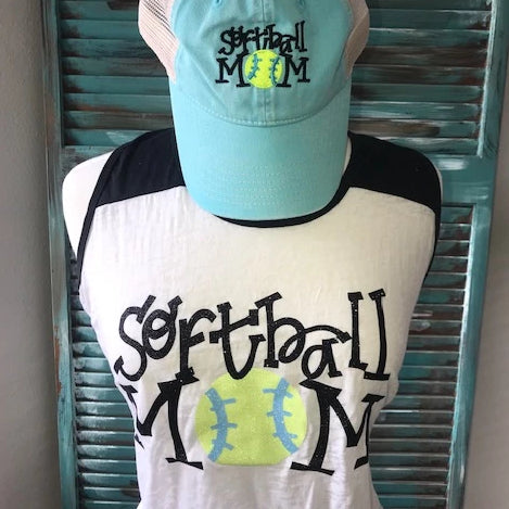 Softball Mom Glitter Tank Top