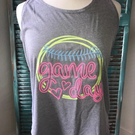 Game Day Glitter Tank Top-Softball