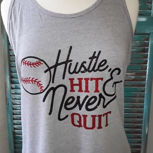 Hustle Hit & Never Quit Baseball Glitter Tank Top