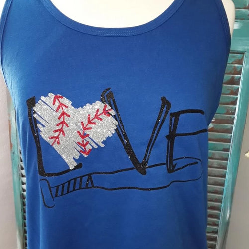 LOVE Baseball Glitter Tank Top