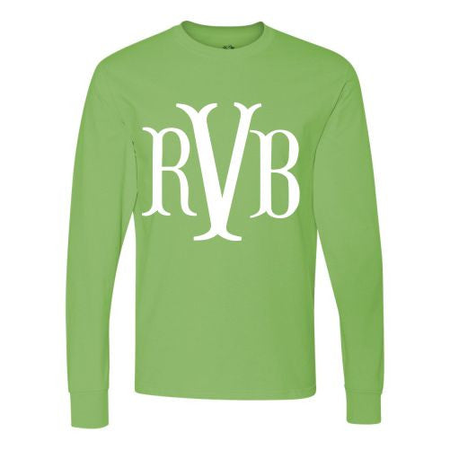 Monogrammed Long Sleeve Tee Shirt in Fishtail Font