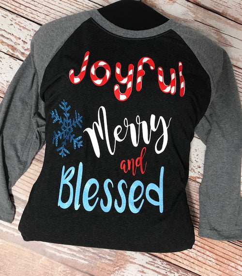 Ladies Joyful Merry and Blessed Raglan Shirt
