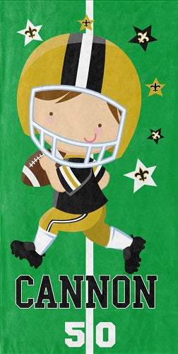 Personalized Saints Football Player Beach Towel